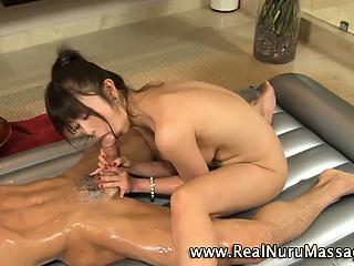 Petite asian masseuse rides..