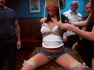 Fisted slut squirts in public