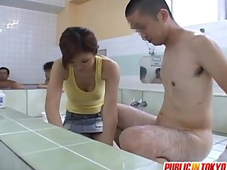 Mai gives handjob at pool