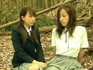 Horny Asian Lesbians Outside..