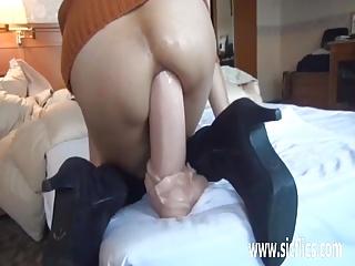 Gigantic anal dildo fucked..