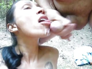cumslut Shirley fucks outdoors
