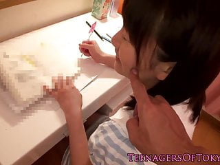 Japanese teen sucking cock..
