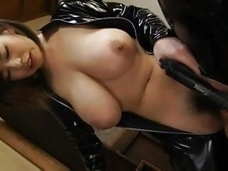 Latex asian girl with broad..