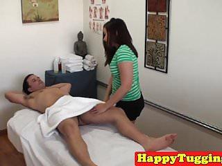 Asian massage babe jerking..