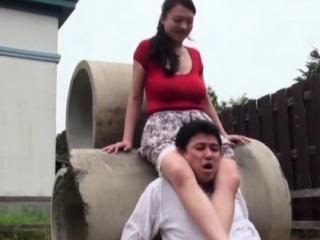 Lewd busty asian mature maid..