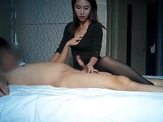 Thai doll rubs the brush..