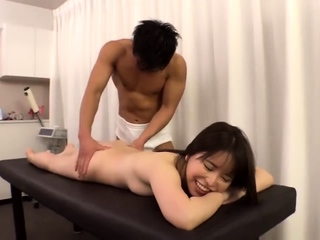 Asian inexpert masturbates..