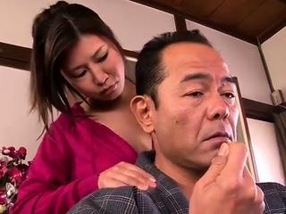 Subtitled Japanese milf oil..