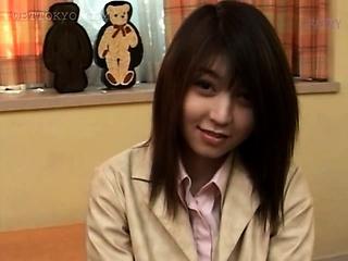 Asian girl walking the..